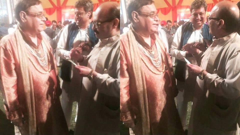 Guruji Gobind Sharma With Amar Singh Giving Predictions To Him At President House In Marriage Party.